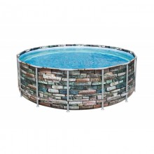 PISCINA PARED PVC DEPURADORA CARTUCHO CIRCULAR 15232LT ESTRUCTURA METAL 427X122C