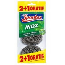 ESTROPAJO LIMPIEZA 6,5CM INOX SPONTEX 3 PZ