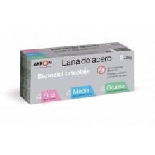 LANA ACERO PULIR 6 PZ 25GR 2FINA+2MED+2GRUESA SURTIDO AKRON