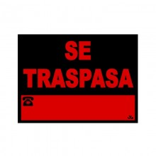 "CARTEL PVC 40X30CM ""SE TRASPASA"""