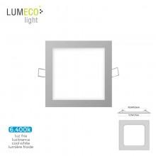 MINI DOWNLIGHT LED LUMECO 6W 320 LUMEN CUADRADO 12CM 6.400K MARCO CROMO
