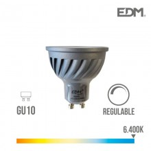 BOMBILLA DICROICA LED REGULABLE GU10 6W 480 LM 6400K LUZ FRIA EDM