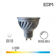 BOMBILLA DICROICA LED REGULABLE GU10 6W 480 LM 3200K LUZ CALIDA EDM