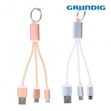 CABLE USB TIPO C, MICRO USB 13CM GRUNDIG