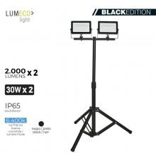 "FOCO PROYECTOR LED CON TRIPODE 2X 30W 6400K 2 X 2000 LUMENS ""BLACK EDITION"" LUMECO"