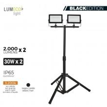 "FOCO PROYECTOR LED CON TRIPODE 2X 30W 3.200K 2X 2000 LUMENS ""BLACK EDITION"" LUMECO"
