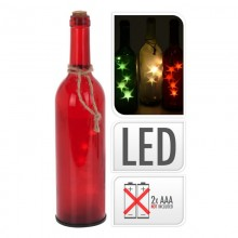 BOTELLA DE CRISTAL DECORATIVA CON LED 29CM 3XAAA PILAS NO INCLUIDAS COLORES SURTIDOS