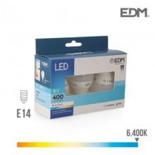 KIT 3 BOMBILLAS ESFERICAS LED E14 5W 400 LM 6400K LUZ FRIA EDM
