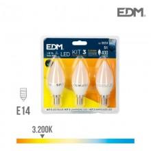 KIT 3 BOMBILLAS VELA LED E14 5W 400 LM 3200K LUZ CALIDA EDM