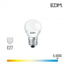 BOMBILLA ESFERICA LED E27 5W 400 LM 6400K LUZ FRIA EDM