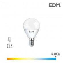 BOMBILLA ESFERICA LED E14 5W 400 LM 6400K LUZ FRIA EDM