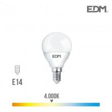 BOMBILLA ESFERICA LED E14 6W 500 LM 4000K LUZ DIA EDM