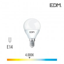 BOMBILLA ESFERICA LED E14 7W 600 LM 4000K LUZ DIA EDM