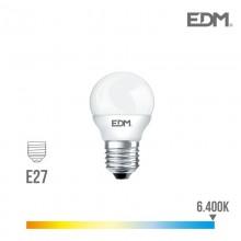 BOMBILLA ESFERICA LED E27 6W 500 LM 6400K LUZ FRIA EDM