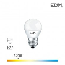 BOMBILLA ESFERICA LED E27 6W 500 LM 3200K LUZ CALIDA EDM