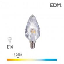 BOMBILLA VELA CRISTAL LED E14 3W 300 LM 3200K LUZ CALIDA EDM