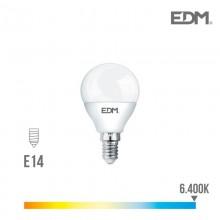 BOMBILLA ESFERICA LED E14 7W 600 LM 6400K LUZ FRIA EDM