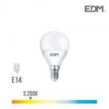 BOMBILLA ESFERICA LED E14 7W 600 LM 3200K LUZ CALIDA EDM